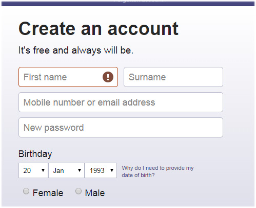 crate an Facebook account easily