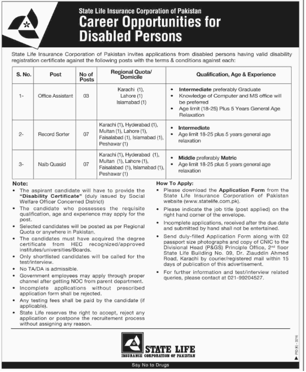 Advertisement for State Life Insuarance Corporation Jobs