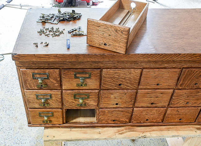 Adding original hardware onto refinished card catalog