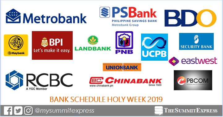 LIST: Bank schedule Holy Week 2019