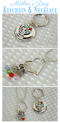 Mother's Day Keychain and Necklace Collage