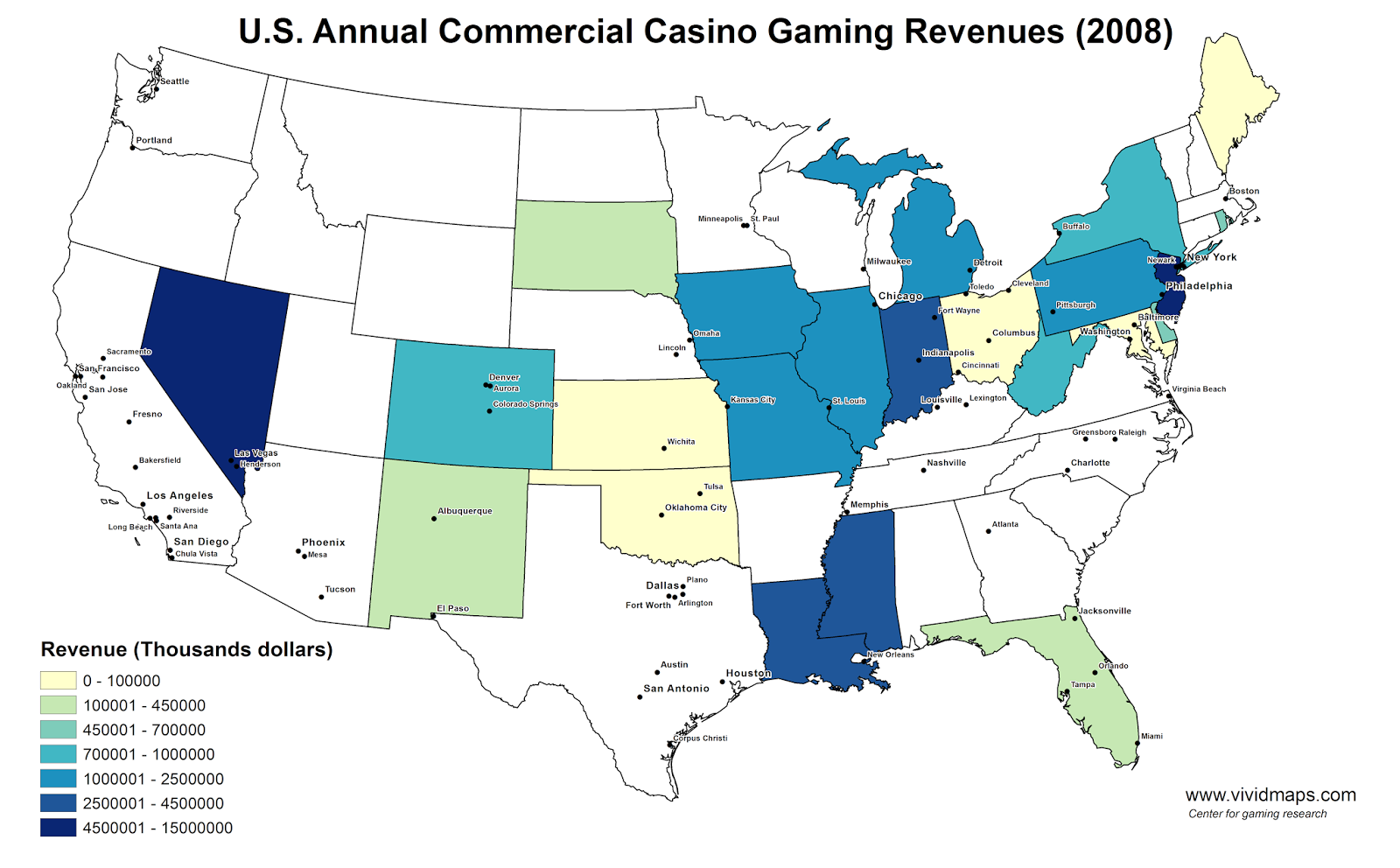 U.S. Annual Commercial Casino Gaming Revenues (2008)