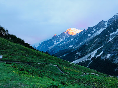 View of the trail for the two day hike. Sunrise at Rifugio Bonatti and view of Mont Blanc.