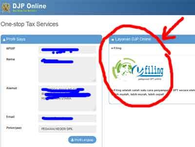 silakan klik login lalu akan terbuka halaman baru di mana akan ada logo e filing pada tengah-tengah halaman djponline-pajak-go-id ini