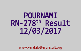 POURNAMI Lottery RN 278 Results 12-3-2017