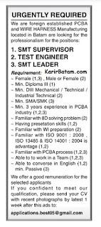 Lowongan Kerja Sebagai SMT Leader dan Test Engineering Lulusan SMK/SMA/D3