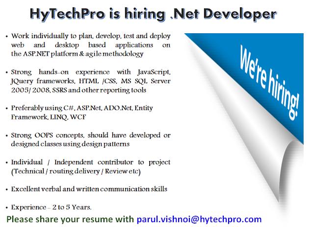 Hiring For ASP.NET Developers