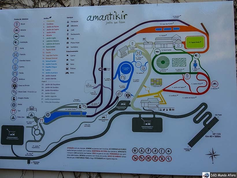 Mapa do Parque Amantikir: os jardins que falam em Campos do Jordão