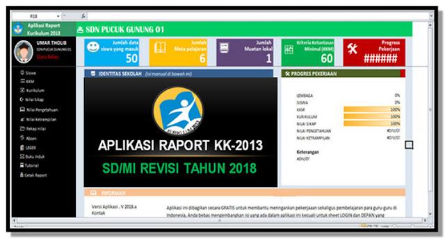 Aplikasi Cetak Raport K13 Kelas 1 Semester 1 Tahun 2018/2019