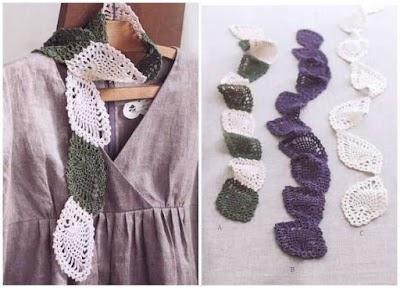 Bufanda primavera hojas de piña a crochet