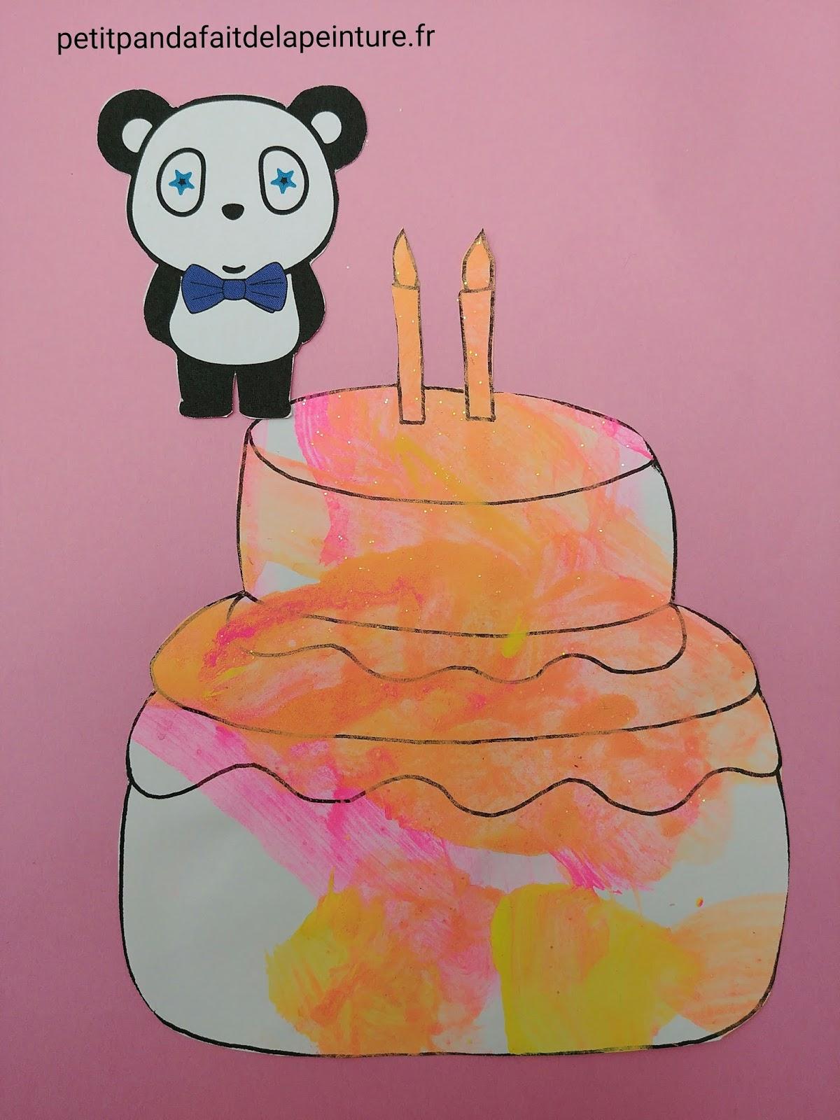 petit panda fait de la peinture special anniversaire carte d 39 anniversaire 2 ans enfant. Black Bedroom Furniture Sets. Home Design Ideas