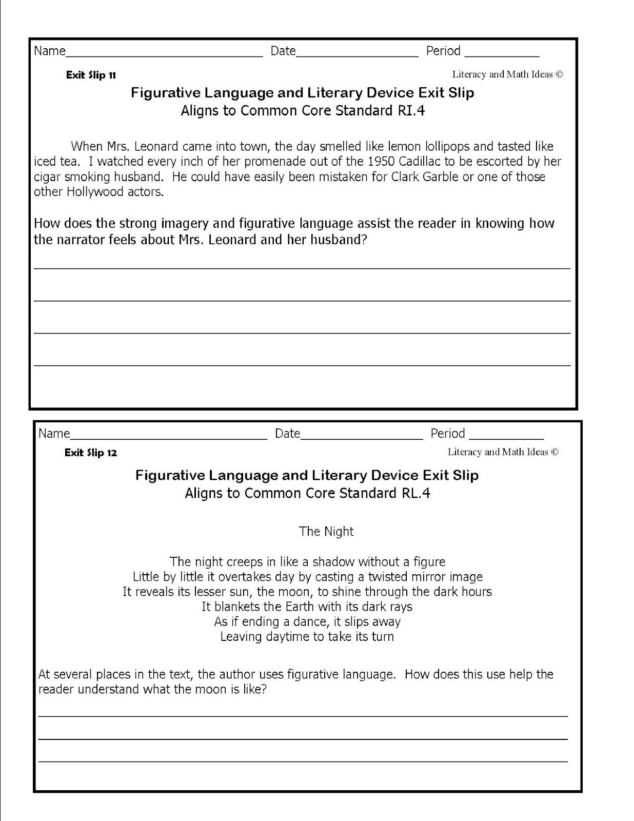 Literacy Amp Math Ideas Figurative Language Exit Slips