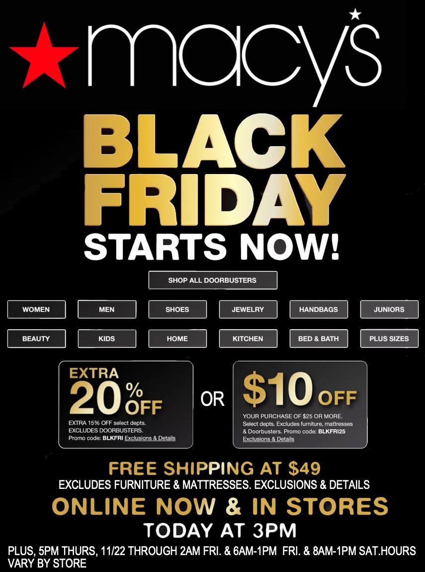 MACY'S BLACK FRIDAY/CYBER MONDAY SALES
