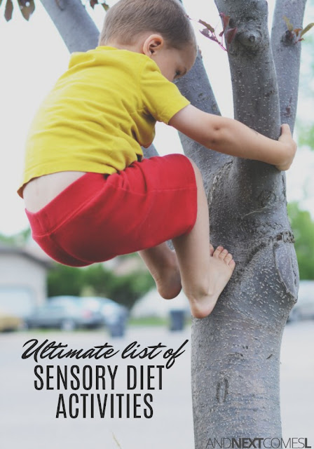 List of 50 easy sensory diet activities for kids from And Next Comes L