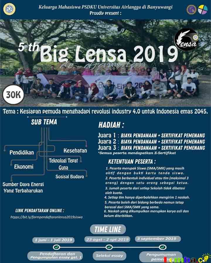 Lomba Essay Nasional 5th Big Lensa 2019 Untuk Mahasiswa