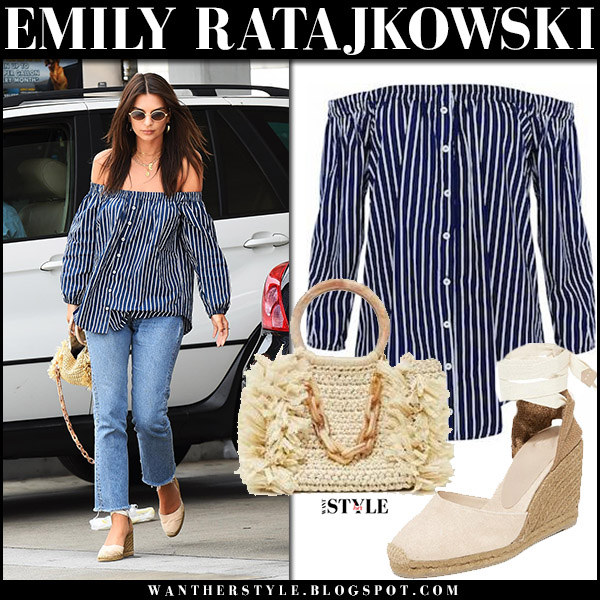 Emily Ratajkowski in blue striped off shoulder top, jeans and wedge sandals castaner august 15 2017 model street fashion