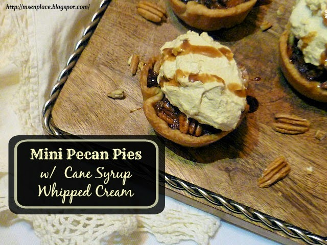 Mini Pecan Pies with Cane Syrup Whipped Cream