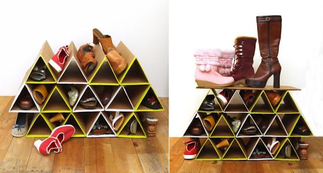 Organizador de cartón para zapatos DIY