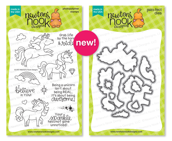 Believe in Unicorns | Photopolymer Stamp set & Die Set by Newton's Nook Designs #newtonsnook