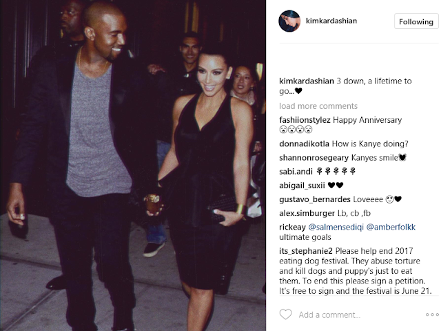 Kim Kardashian celebrates 3rd wedding anniversary with loving photo