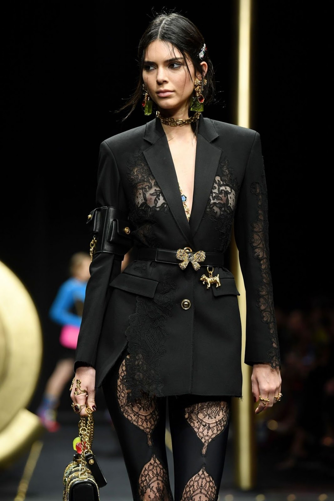 de54b8319e8 Kendall Jenner puts nipples on show at the Versace Fall Winter 2019 Fashion  Show in Milan