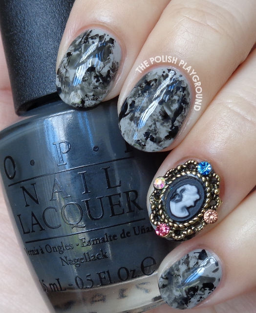 Grey and Black Saran Wrap with Silhouette Nail Stud Nail Art