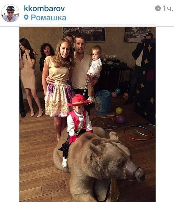 Russian player Kirill Kombarov hires real, live bear for son's second birthday party