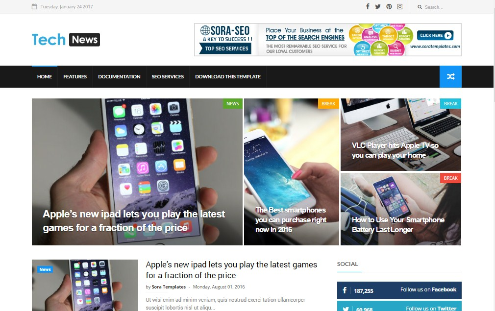 Tech News Blogger Template | High Quality Free Blogger Templates