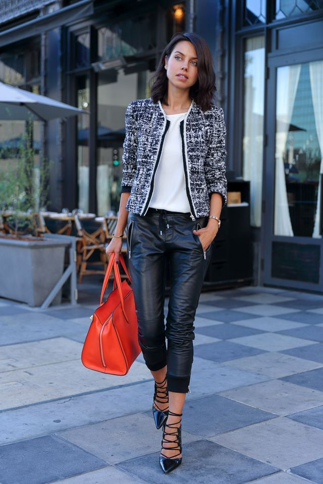 leather with blazer