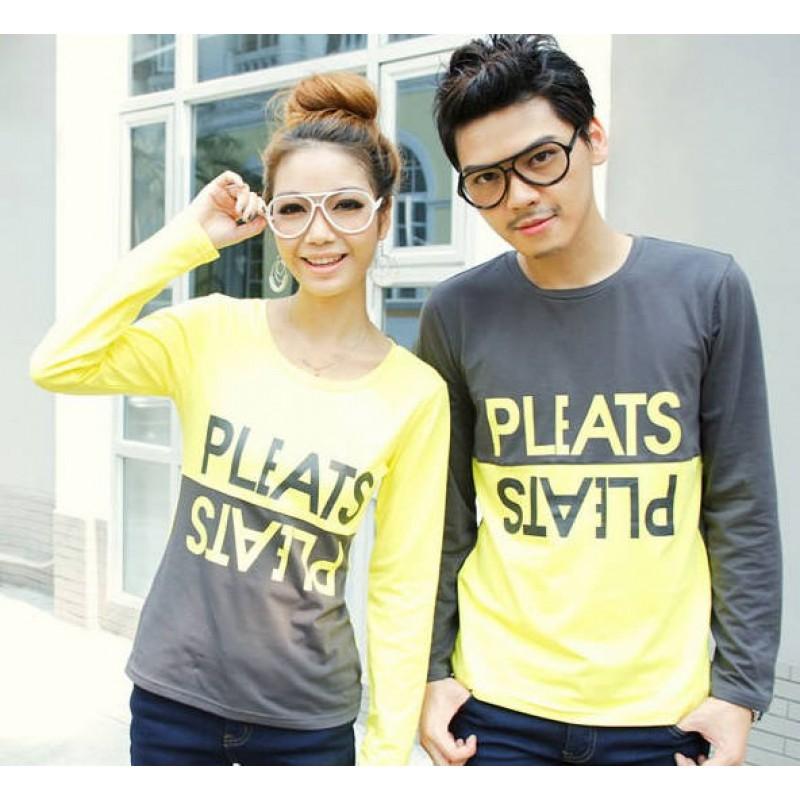 Jual Online Sweater Pleats Abu Kuning Couple Murah Jakarta Bahan Babytery Terbaru