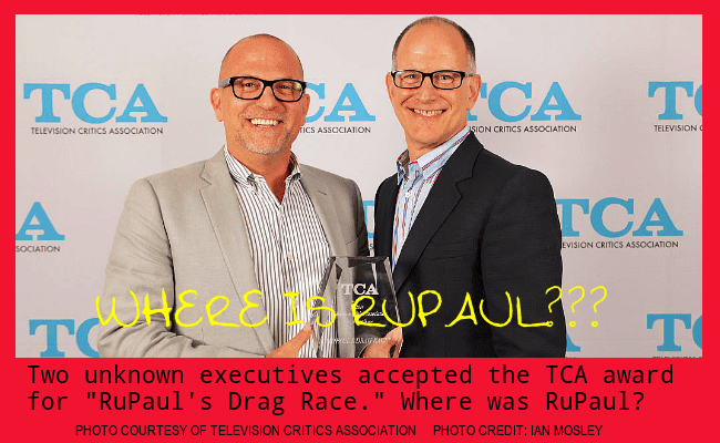 "Two executives accepted the TCA Award for ""RuPaul's Drag Race"""