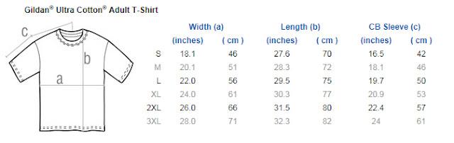 Gildan measurement chart