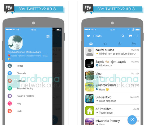 BBM MOD Twitter versi 2.11.0.18