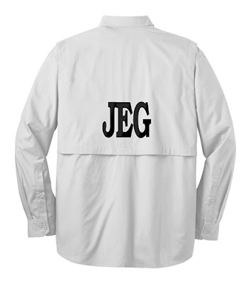 White Background Image of White Long Sleeve Fishing Shirt with Initials