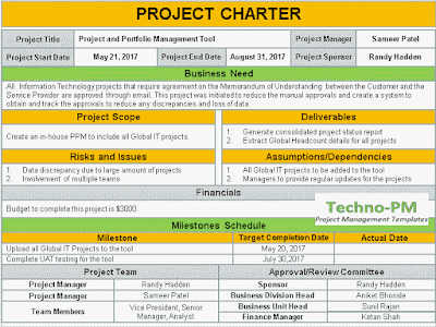 project charter template, project charter