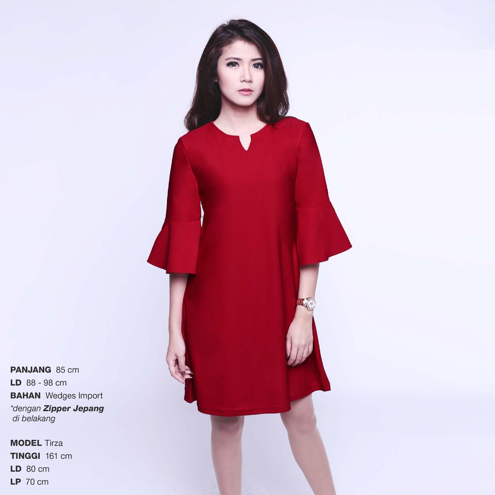 Wedges Import Tulip Key Tunic Dress Gaun Pakaian Wanita Ds854 Sabrina Tied Sleeve Blouse Atasan Bl885 Bahan