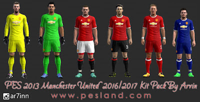 PES 2013 Manchester United 2016-17 Kit Pack By Arvin