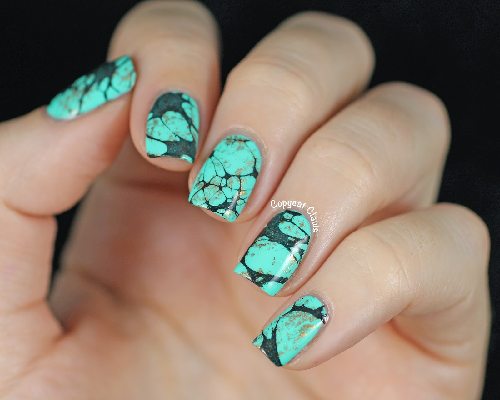 Copycat claws turquoise stone nail art china glaze too yacht to i used three coats of china glaze too yacht to handle plus hk girl top coat to start two coats is enough for coverage but as much as i love the colours prinsesfo Image collections