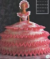 Vestido de Crochê Para Barbie - Coleção Calendário - Senhorita Fevereiro 1991