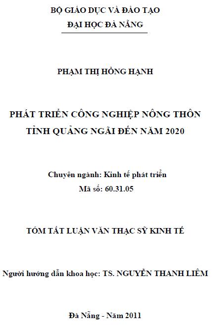 Phát triển công nghiệp nông thôn tỉnh Quảng Ngãi đến năm 2020