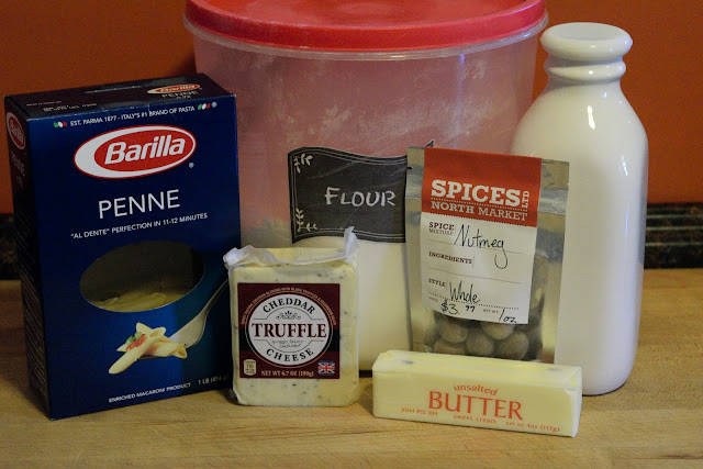 A picture of the ingredients needed to make the truffled mac and cheese.