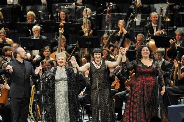 Johan Reuter, Felicity Palmer, Gun-Brit Barkmin and Christine Goerke, with BBC Symphony Orchestra at the end of Elektra at the Proms - photo credit BBC