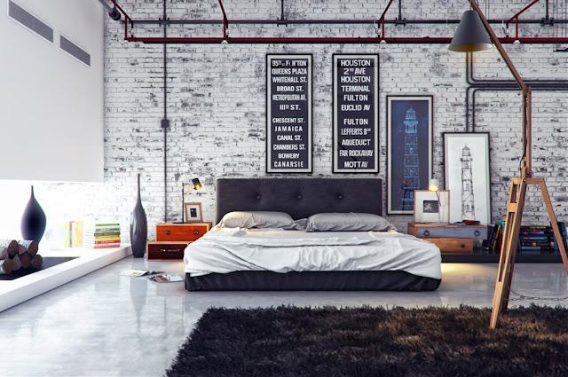 kamar tidur interior rumah industrial