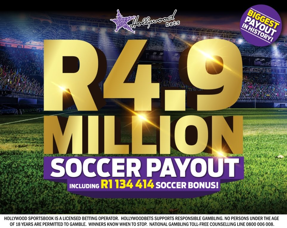 R4.9 Million Soccer Payout at Hollywoodbets - Record for South Africa