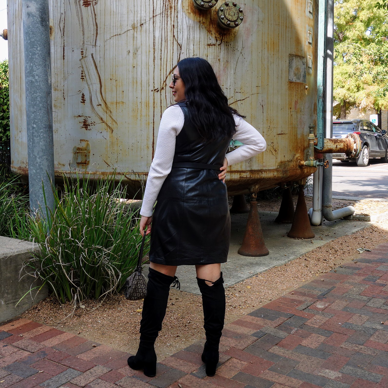 Leather Dress, Leather Overall, Leather Dress Outfit, Black Leather Dress Outfit