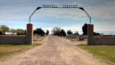 Front gate to O'Donnell Cemetery.