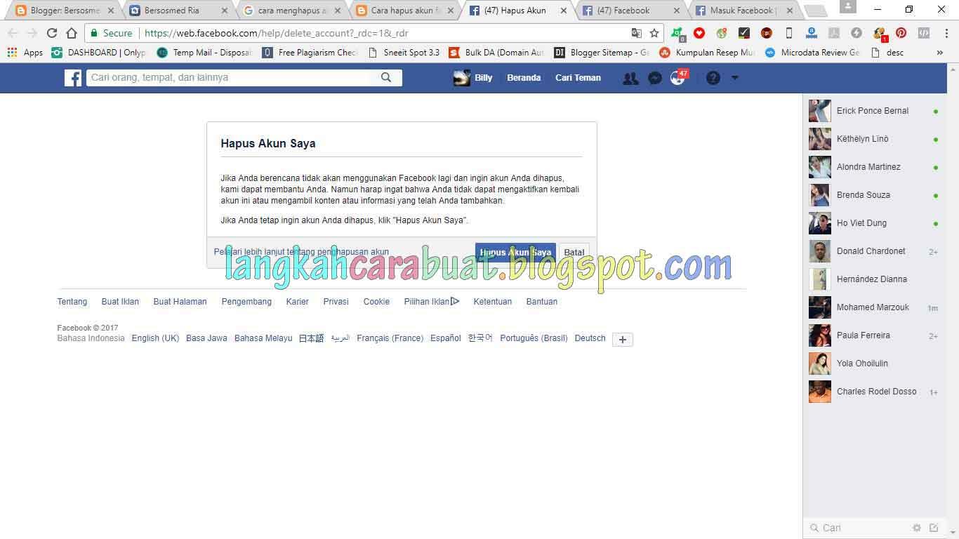Cara Menghapus Akun Facebook Sendiri Secara Permanen