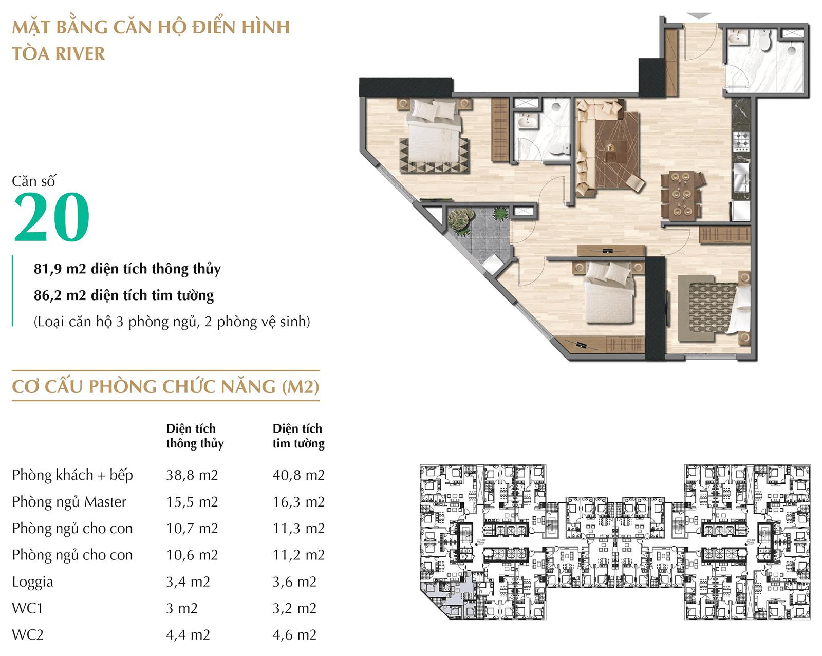 Thiết kế chi tiết mặt bằng căn hộ tòa Park River - Eurowindow River Park