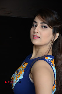 Actress Anchor Manjusha Pictures in Blue Short Dress at Jaguar Movie Success Meet .COM 0005.jpg