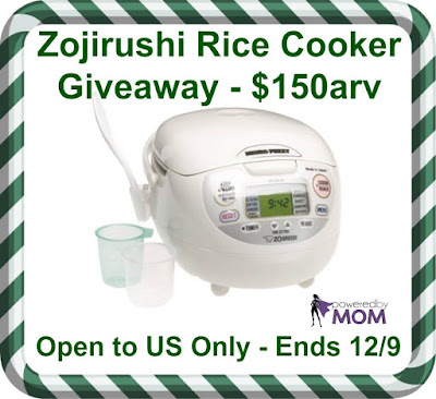 Zojirushi Rice Cooker Giveaway. Ends 12/9